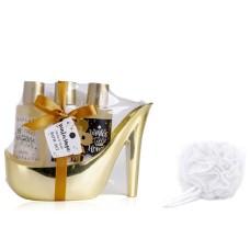 Diva - set cadou Craciun pentru baie, gel de dus, lotiune de corp si spumant de baie, ambalaj pantof cu toc