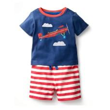 Compleu baieti Trickert, tricou cu avion brodat si pantalon cu dungi alb-rosu