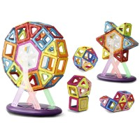 Set de constructie cu magneti cu carusel inclus 3D - 52 piese