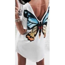 Rochie de plaja imprimeu fluture, decoltat in V la spate