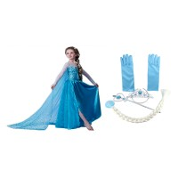 Set rochie si accesorii Elsa Frozen, model Trickert