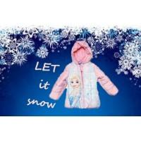 Geaca de iarna Elsa Frozen, culori roz bombon/bleu ciel