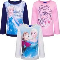 Tricou fete Elsa Frozen, alb, roz, albastru