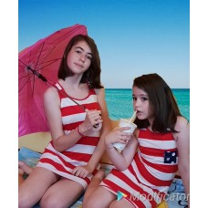 Rochie de plaja cu dungi alb-rosu, modele asortate mama - fiica