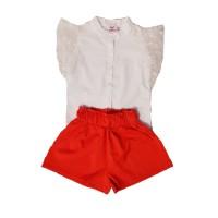 Compleu elegant fete, Trickert, bluza alba cu maneci din voal si pantaloni scurti rosii