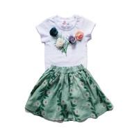 Compleu fete Green Nature by Trickert - tricou cu trandafiri si fusta verde