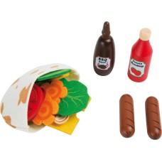 Set de joaca lipie cu hotdog, legume si sosuri